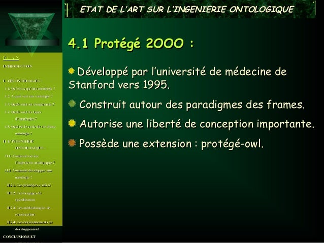 ETAT DE L'ART SUR L'INGENIERIE ONTOLOGIQUE                                      4.1 Protégé 2OOO :PLAN                    ...