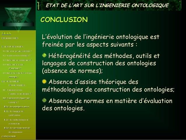 ETAT DE L'ART SUR L'INGENIERIE ONTOLOGIQUE                                      CONCLUSIONPLANINTRODUCTION                ...