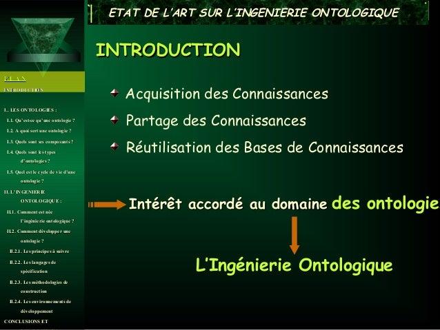 ETAT DE L'ART SUR L'INGENIERIE ONTOLOGIQUE                                      INTRODUCTIONPLANINTRODUCTION              ...