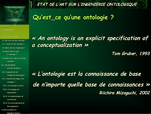 ETAT DE L'ART SUR L'INGENIERIE ONTOLOGIQUE                                      Qu'est_ce qu'une ontologie ?PLANINTRODUCTI...