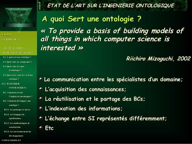 ETAT DE L'ART SUR L'INGENIERIE ONTOLOGIQUE                                       A quoi Sert une ontologie ?PLAN          ...