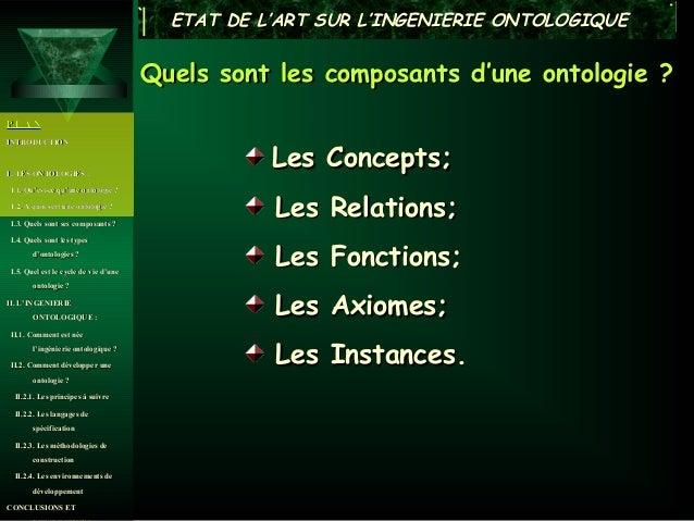 ETAT DE L'ART SUR L'INGENIERIE ONTOLOGIQUE                                      Quels sont les composants d'une ontologie ...
