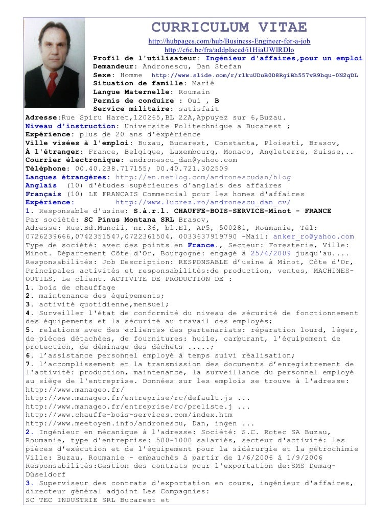 CURRICULUM VITAE                             http://hubpages.com/hub/Business-Engineer-for-a-job                          ...