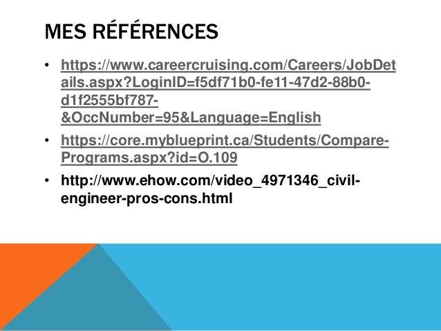 MES RÉFÉRENCES• https://www.careercruising.com/Careers/JobDetails.aspx?LoginID=f5df71b0-fe11-47d2-88b0-d1f2555bf787-&OccNu...