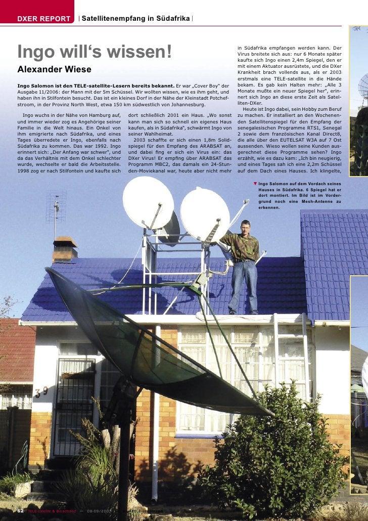 DXER REPORT                  Satellitenempfang in Südafrika    Ingo will's wissen!                                        ...
