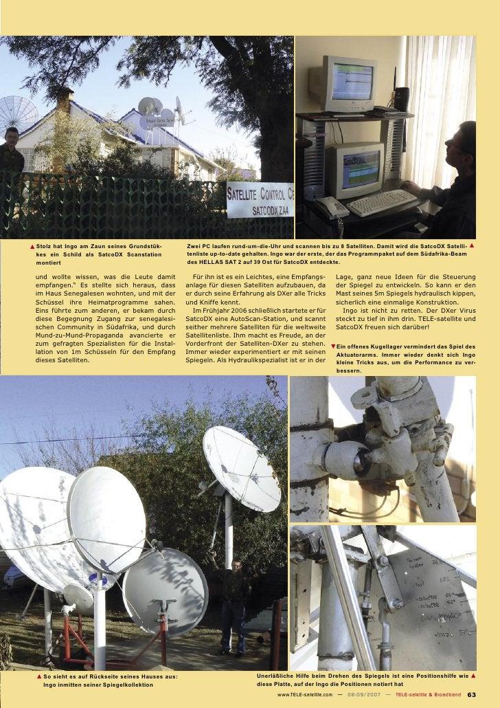 ▲ Stolz hat Ingo am Zaun seines Grundstük-         Zwei PC laufen rund-um-die-Uhr und scannen bis zu 8 Satelliten. Damit w...