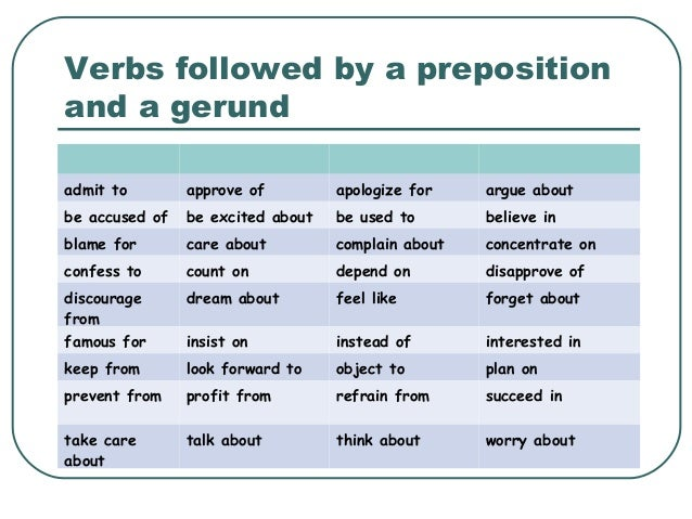 Verbs followed by a preposition and a gerund admit to approve of apologize for argue about be accused of be excited about ...
