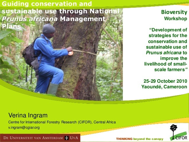 """Guiding conservation and sustainable use through National Prunus africana Management Plans  Bioversity Workshop """"Developme..."""