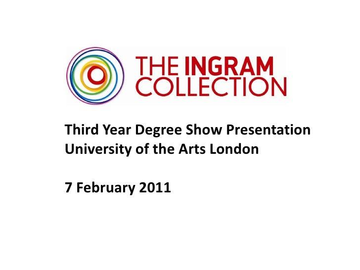Third Year Degree Show PresentationUniversity of the Arts London7 February 2011