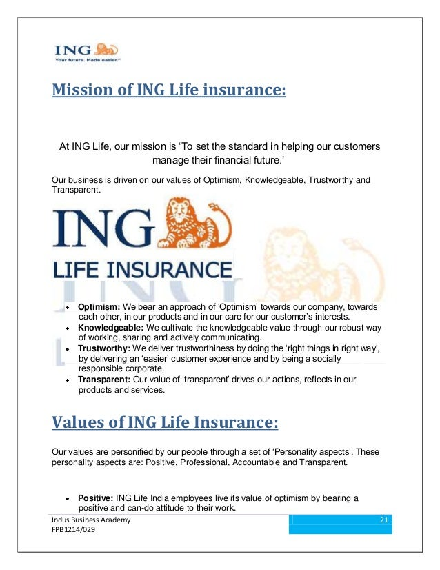 ... 21. Mission Of ING Life Insurance: ...