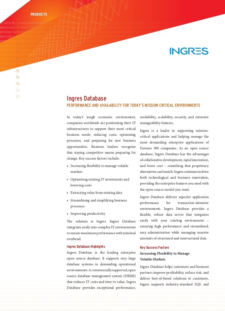 PRODUCTS           Ingres Database           Performance anD avaIlabIlIty for toDay's mIssIon crItIcal envIronments       ...
