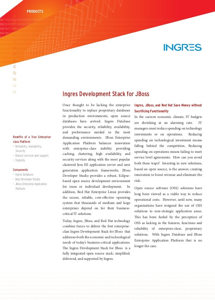 PRODUCTS                                 Ingres Development Stack for JBoss                                 Once thought t...