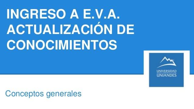 INGRESO A E.V.A. ACTUALIZACIÓN DE CONOCIMIENTOS Conceptos generales