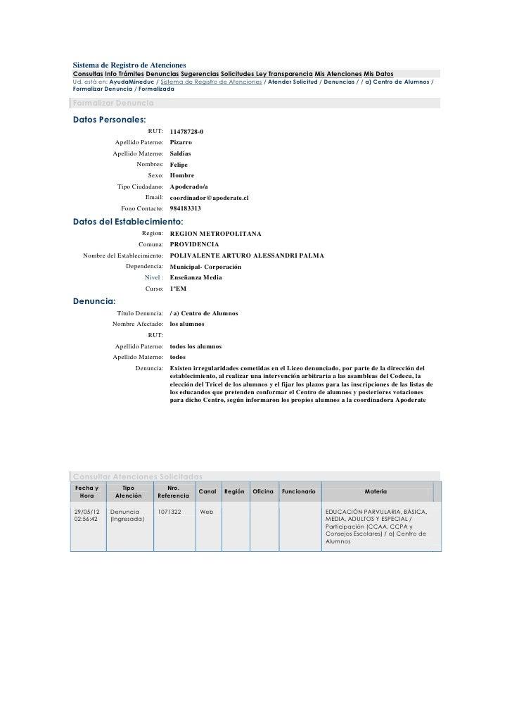 Sistema de Registro de AtencionesConsultas Info Trámites Denuncias Sugerencias Solicitudes Ley Transparencia Mis Atencione...