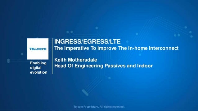 Enabling digital evolution Teleste Proprietary. All rights reserved. INGRESS/EGRESS/LTE The Imperative To Improve The In-h...