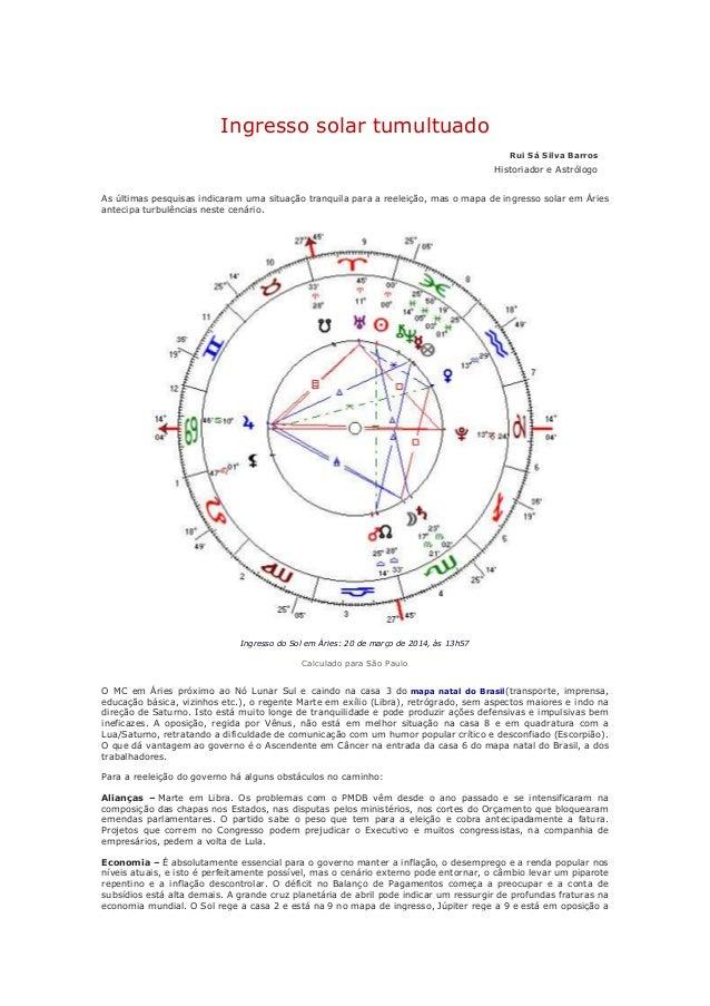 Ingresso solar tumultuado Rui Sá Silva Barros Historiador e Astrólogo As últimas pesquisas indicaram uma situação tranquil...