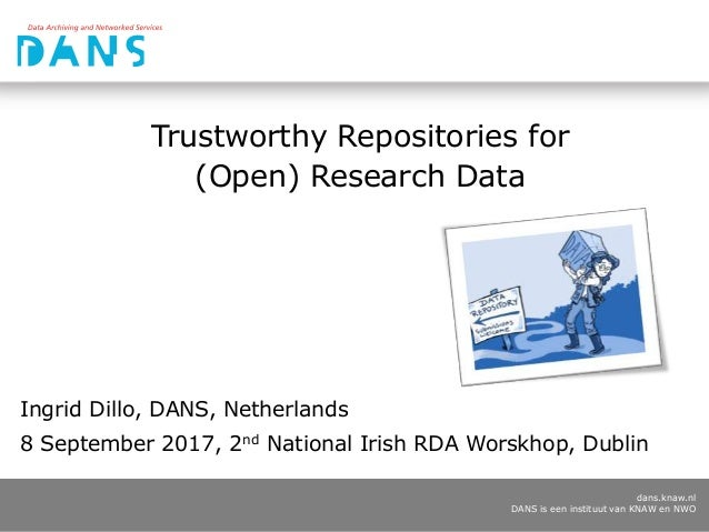 dans.knaw.nl DANS is een instituut van KNAW en NWO Trustworthy Repositories for (Open) Research Data Ingrid Dillo, DANS, N...