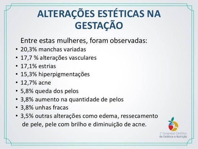 ALTERAÇÕES ESTÉTICAS NA GESTAÇÃO Já nos consultórios de médicos dermatologistas a pesquisa mostrou que: 39,2% manchas; 35,...