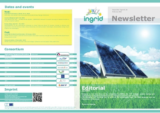 Newsletter Ingrid N. 03 February 2016 Newsletter Project Web Site: http://www.ingridproject.eu Project Leader Contacts: Dr...