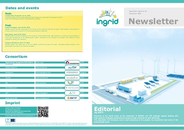 Newsletter Ingrid N. 04 November 2016 Newsletter Project Web Site: http://www.ingridproject.eu Project Leader Contacts: Dr...