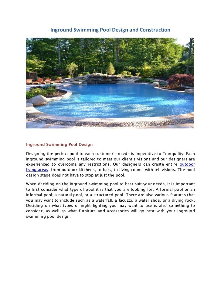 Inground pool design and construction for Pool design and construction