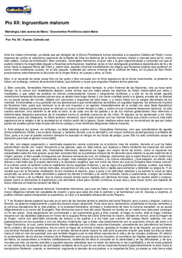 Pío XII: Ingruentium malorum Mariología, todo acerca de María / Documentos Pontificios sobre María Por: Pío XII | Fuente: ...
