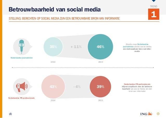 4 1STELLING: BERICHTEN OP SOCIAL MEDIA ZIJN EEN BETROUWBARE BRONVAN INFORMATIE Betrouwbaarheid van social media TREND Stee...