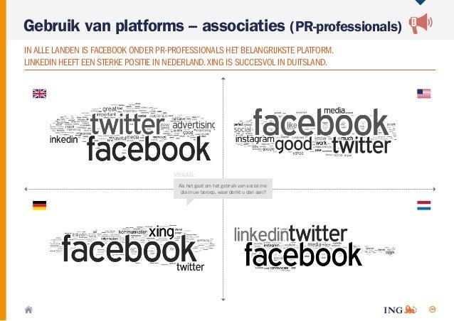 40 Gebruik van platforms – associaties (PR-professionals) INALLE LANDEN IS FACEBOOK ONDER PR-PROFESSIONALS HET BELANGRIJKS...