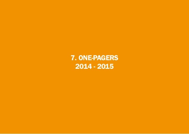 7. ONE-PAGERS 2014 - 2015