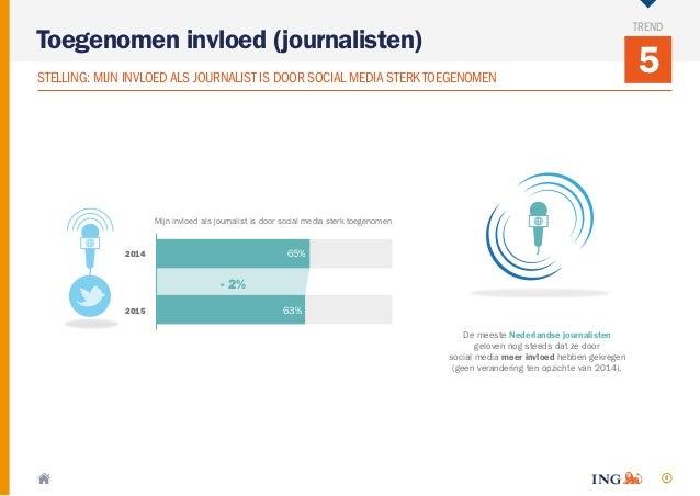 8 5STELLING: MIJN INVLOEDALS JOURNALIST IS DOOR SOCIAL MEDIA STERKTOEGENOMEN Toegenomen invloed (journalisten) TREND Mijn ...