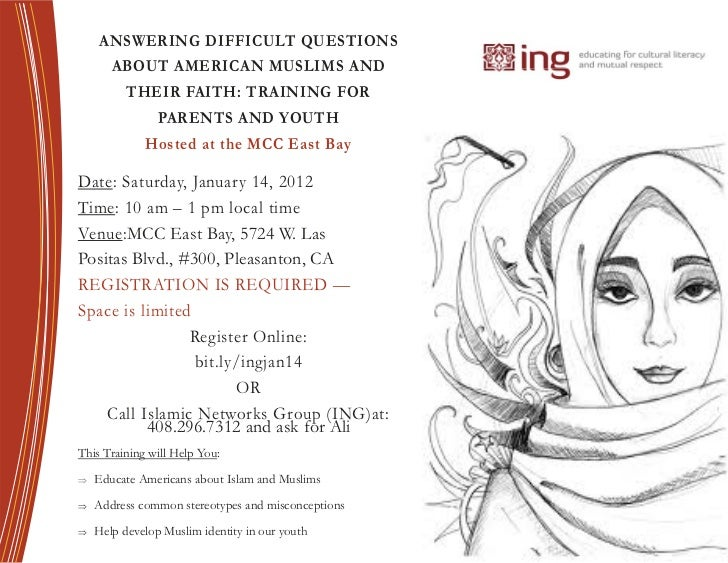 ANSWERING DIFFICULT QUESTIONS        ABOUT AMERICAN MUSLIMS AND           THEIR FAITH: TRAINING FOR                 PARENT...