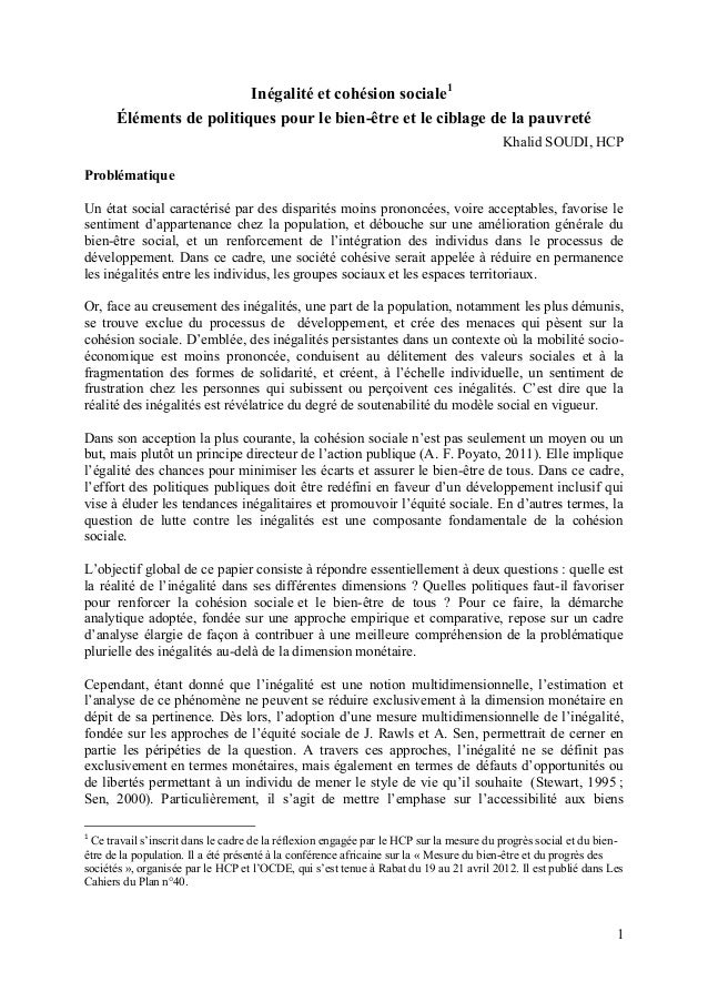1 Inégalité et cohésion sociale1 Éléments de politiques pour le bien-être et le ciblage de la pauvreté Khalid SOUDI, HCP P...