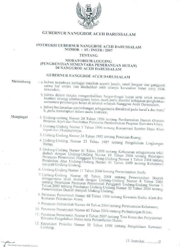 Ingub No.5 Tentang Moratorium Logging Hutan Aceh