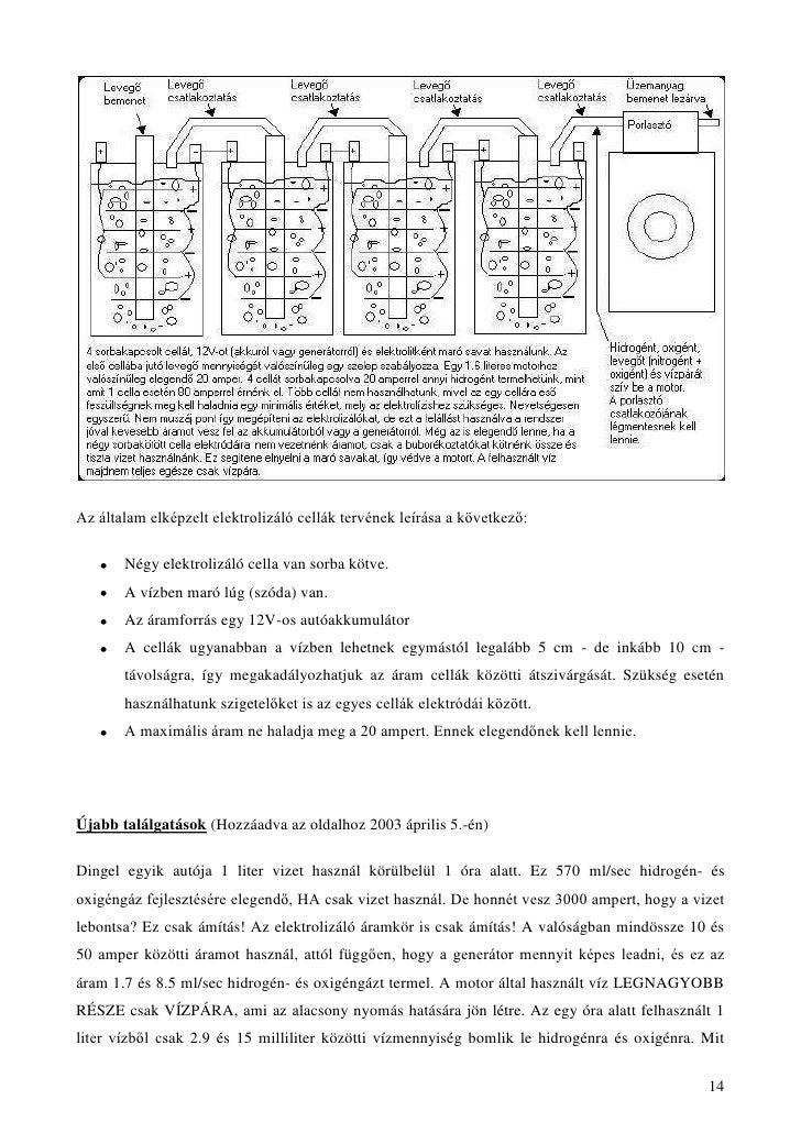 Az általam elképzelt elektrolizáló cellák tervének leírása a következő:       Négy elektrolizáló cella van sorba kötve.   ...