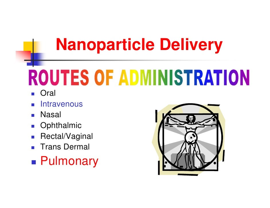 Nanoparticle Delivery         N       i l D li     Oral     O l    Intravenous    Nasal    Ophthalmic    Rectal/Vagin...