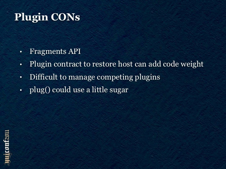 to sum up•   Flexible•   Better in smaller numbers•   Class Plugins vs Augmentation?•   Free with Y.Base-based classes and...