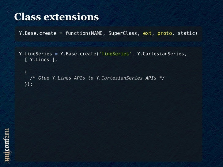 Class extensionsY.Base.create = function(NAME, SuperClass, ext, proto, static)Y.LineSeries = Y.Base.create(lineSeries, Y.C...