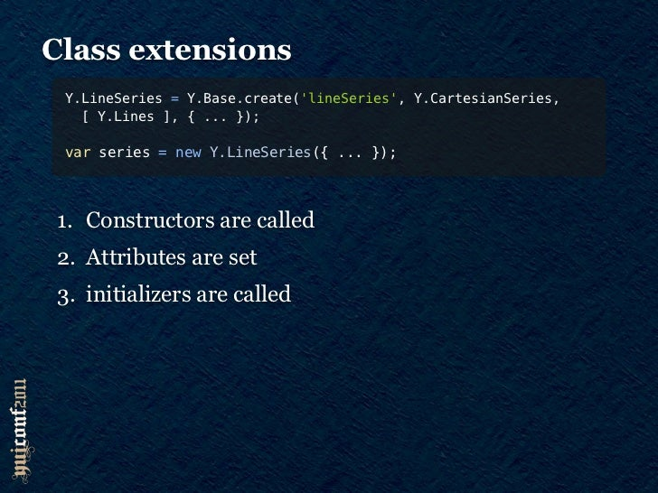 Two types of extensions    1. Class decoration       Add feature APIs and Attributes    2. Core functionality       Satisf...