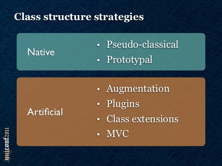 Class structure strategies                • Pseudo-classical  Native                • Prototypal