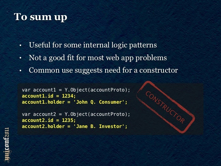 To sum up•     Useful for some internal logic patterns•     Not a good fit for most web app problems•     Common use sugge...