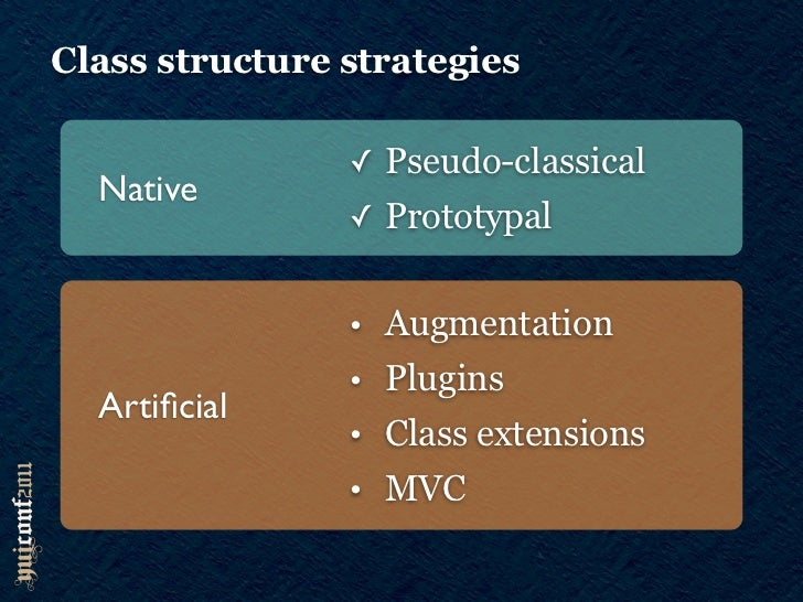 Class structure strategies                ✓ Pseudo-classical   Native                ✓ Prototypal                • Augment...