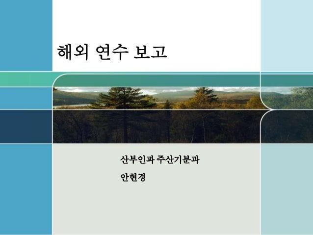 해외 연수 보고 산부인과 주산기분과 안현경