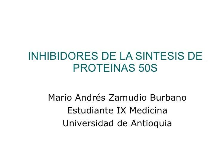 INHIBIDORES DE LA SINTESIS DE PROTEINAS 50S Mario Andrés Zamudio Burbano Estudiante IX Medicina Universidad de Antioquia