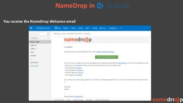 NameDrop in You receive the NameDrop Welcome email