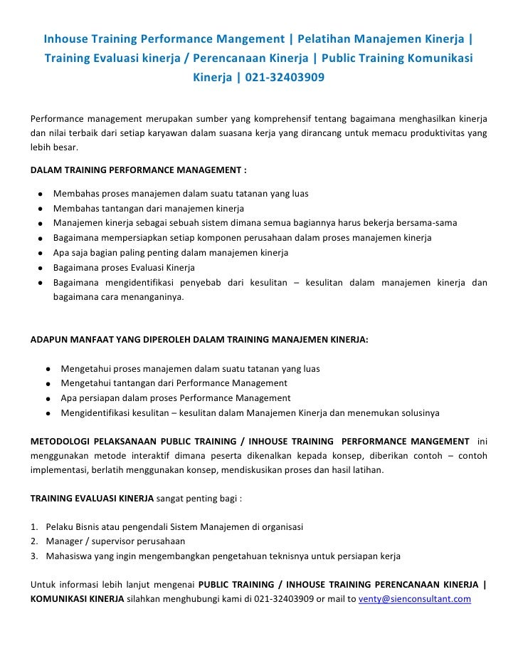 Inhouse Training Performance Mangement   Pelatihan Manajemen Kinerja      Training Evaluasi kinerja / Perencanaan Kinerja ...