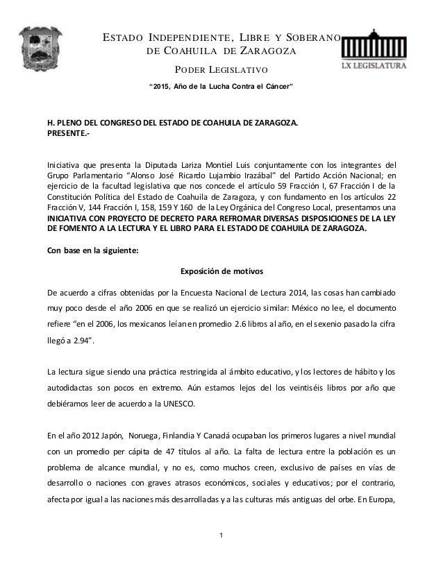 """ESTADO INDEPENDIENTE, LIBRE Y SOBERANO DE COAHUILA DE ZARAGOZA PODER LEGISLATIVO """"2015, Año de la Lucha Contra el Cáncer"""" ..."""