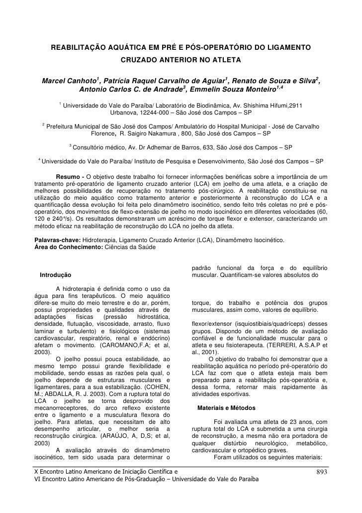 REABILITAÇÃO AQUÁTICA EM PRÉ E PÓS-OPERATÓRIO DO LIGAMENTO                                        CRUZADO ANTERIOR NO ATLE...