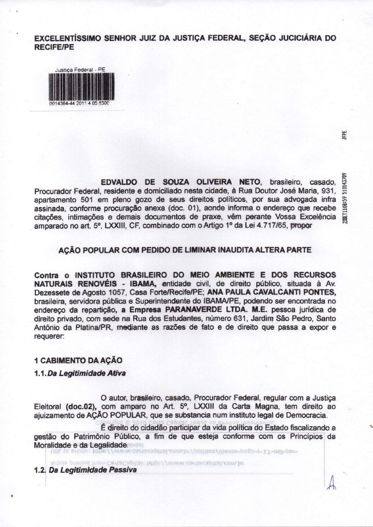 EXCELENTÍSSIMO SENHOR JUIZ DA JUSTIÇA FEDERAL, SEÇÃO JUCICIÁRIA DORECIFE/PE      Jusnca Federal - PE    0014364-44 2011 4 ...