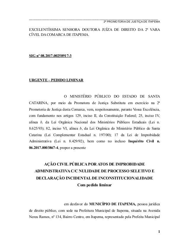 Inicial acp anulação processo seletivo itapema  08.2017.00258917 3  m… 79d2b3f5e4657