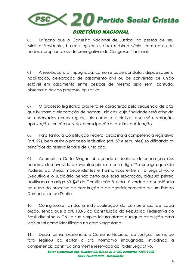 DIRETÓRIO NACIONALSetor Comercial Sul, Quadra 02, Bloco B, nº 20, conjunto 1301/1302CEP: 70.318-900 – Brasília/DF405. Unís...